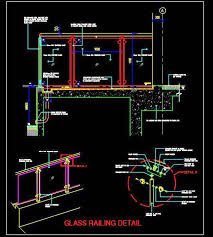 glass railing autocad construction