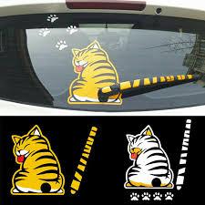Auto Parts Accessories New Yellow Cat Paw Tail Windshield Rear Window Wiper Cartoon Car Decals Stickers Smaitarafah Sch Id