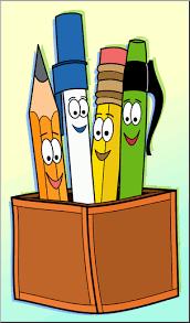 Clip Art: Cute Pen & Pencil Holder Color 1 I abcteach.com | abcteach