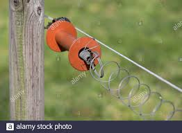 Electric Fence Is A Barrier That Uses Electric Shocks To Deter Animals And People From Crossing A Boundary Orange Handle In A Green Meadow Stock Photo Alamy