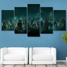 Canvas Pictures Home Hd Print 5 Panel Bioshock Rapture Night View Painting Modular Abstract Game Poster Wall Art Framework With Free Shipping Worldwide Weposters Com