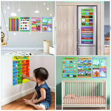 Educational Posters Learning Supplies Charts Teaching Tools 10pcs For Kids Ebay