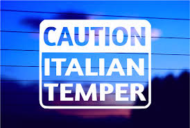 Caution Italian Temper Car Decal Sticker