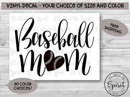 Baseball Mom Vinyl Decal Yeti Tumblers Baseball Mom Sticker Etsy