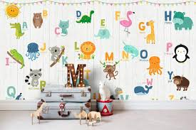 Amazon Com Murwall Kids Wallpaper Colorful Alphabet Wall Mural Cute Animals Wall Print Nursery Wall Art Baby Room Play Room Bedroom Handmade