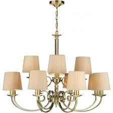 antique brass 12 light chandelier with