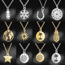 snless steel sun jewelry necklace
