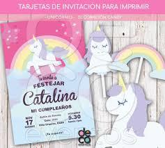 Tarjeta Invitacion Cumpleanos Unicornio P Imprimir Candy