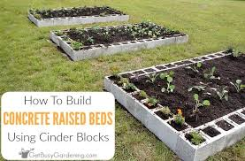 raised garden bed using concrete blocks