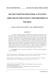 PDF) We don't need no education: A stylistic analysis of Pink ...