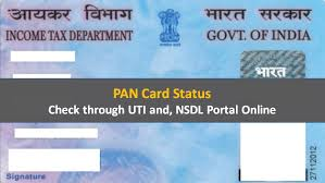pan card status check through uti and