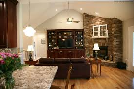 great room stone fireplace and custom