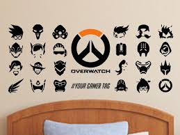 Overwatch Character Symbol Wall Decal For Gamers Personalized Name Vinyl Wall Decal Sticker By Elegantwallar Wall Decal Sticker Vinyl Wall Decals Wall Decals