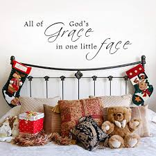 Amazon Com All Of God S Grace In One Tiny Face Vinyl Wall Decal Nursery Decor Crib Decal Baby Decor Mm73 Kitchen Dining