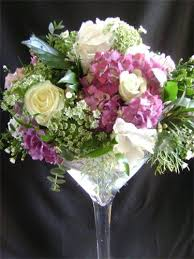 arrangement in a large wine glass
