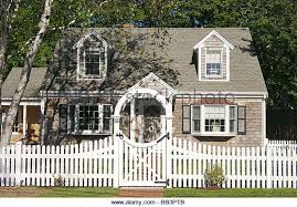 Stock Photo White Picket Fence And Cape Cod Homes Falmouth New England Massachusetts Usa White Picket Fence Picket Fence Brick House Colors