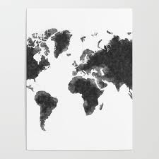 World Map Black Sketch Map Of The World Wall Art Poster Wall Decal Earth Atlas Geography Map Poster By Radub85 Society6