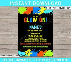 neon glow birthday invitation template
