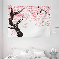 Amazon Com Ambesonne Floral Tapestry Dogwood Tree Blossom In Watercolor Painting Effect Spring Season Theme Pinkish Tones Wide Wall Hanging For Bedroom Living Room Dorm 80 X 60 Black Pink Home Kitchen
