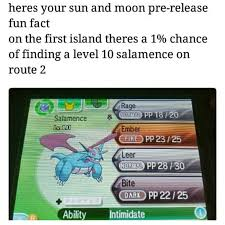 There's a 1% of finding a Level 10 Salamence on Route 2.