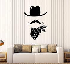 Amazon Com Vinyl Wall Decal Cowboy Costume Hat Mustache Stickers 3574ig Home Kitchen