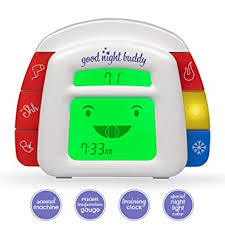 Night Light Good Night Buddy By Sleep Whisperer Ingrid Prueher Kids Alarm Clock Room Temperature Gauge All In One Sleep Training Solution W Sound Machine Teach Infant Toddler Sleep Habits Clocks