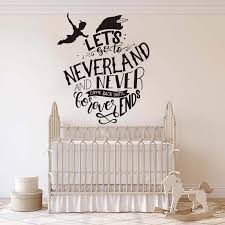 Peter Pan Lets Go To Neverland Quote Wall Decal Children Room Inspirational Quote Tinkerbell Wall Sticker Kids Room Vinyl Art Wall Stickers Aliexpress