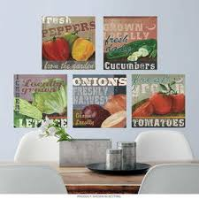 Itembrand Locally Grown Vegetables Wall Decal Set Vintage Style Home Decor Bundle