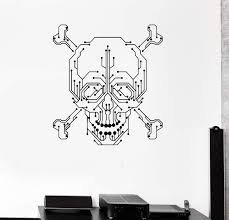 Wall Decal Computer Geek Skull Pc Gamer Chip Vinyl Stickers Unique Gif Wallstickers4you