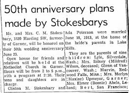 50th Anniversary: Clinton and Ada (Peterson) Stokesbary - Newspapers.com