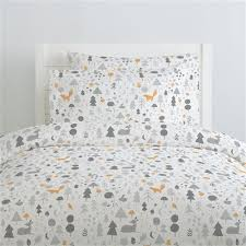 silver gray baby woodland pillow case