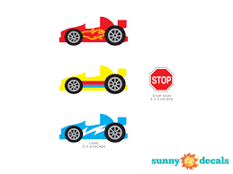 Race Cars Fabric Wall Decal Nascar Inspired Race Car Wall Sticker Set Of 3 Red Blue And Yellow