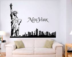 New York Skyline With Stature Of Liberty Traveling The World Wall Decal Silhuet