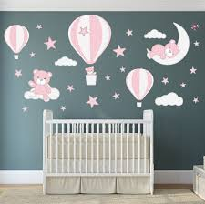 Teddy Bear Decal Hot Air Balloon Wall Stickers Stars Clouds Etsy