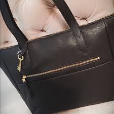 fossil bags fiona leather tote black