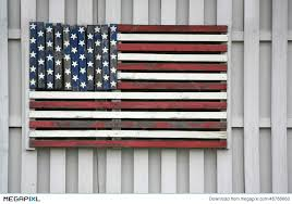 Wooden American Flag On Fence Stock Photo 48788660 Megapixl