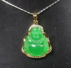 gold plate green jade pendant buddha
