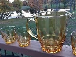 vintage hazel atlas amber glass pitcher