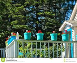 Colorful Flower Pots On A White Balcony Railing Stock Photo Image Of Springflowers Floral 122659710