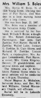 Obituary for Myrtle Morris Zuehlke Boles - Newspapers.com