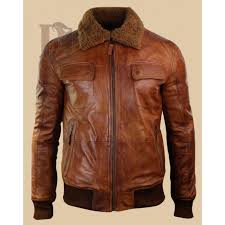 brown fur collar distressed leather