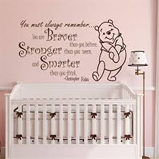 Amazon Com You Are Braver Than You Believe Quote Wall Sticker Decal Winnie The Pooh Wall Decals Sticker Disney Wall Decal Stickers For Nursery Arts Crafts Sewing