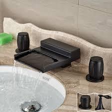 dual handle bathroom waterfall sink faucet