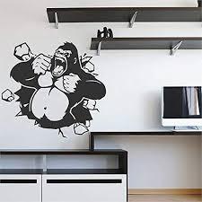 Amazon Com Stickersforlife Ik2873 Wall Decal Sticker Gorilla Monkey King Kong Living Room Bedroom Home Kitchen