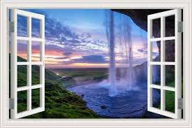 3d Window View Wall Sticker Decal Sticker Home Decor Living Room Nature Landscape Decal Waterfall Mural Wallpape Wall Wallpaper Print Wallpaper Mural Wallpaper