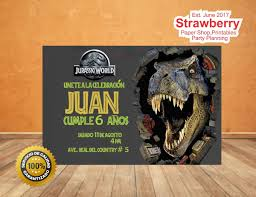 Kit Editable Cumpleanos Invitacion Jurassic World T Rex 60 00