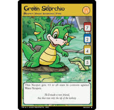 green scorchio neopets tcg travels in
