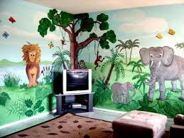 Cartoon Characters Or Animals Mural Painting For The Kids Room Animal Mural Jungle Mural Kids Jungle Room