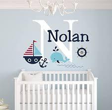 Amazon Com Personalized Nautical Theme Wall Decal Nautical Decor Nursery Wall Decals Whale And Sailboat Custom Vinyl Baby Nursery Decor Baby