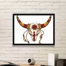 Traditional American Indian Inspired Animal Skull Decoration Sacrifice Simple Picture Frame Art Prints Of Paintings Home Wall Decal Diythinker